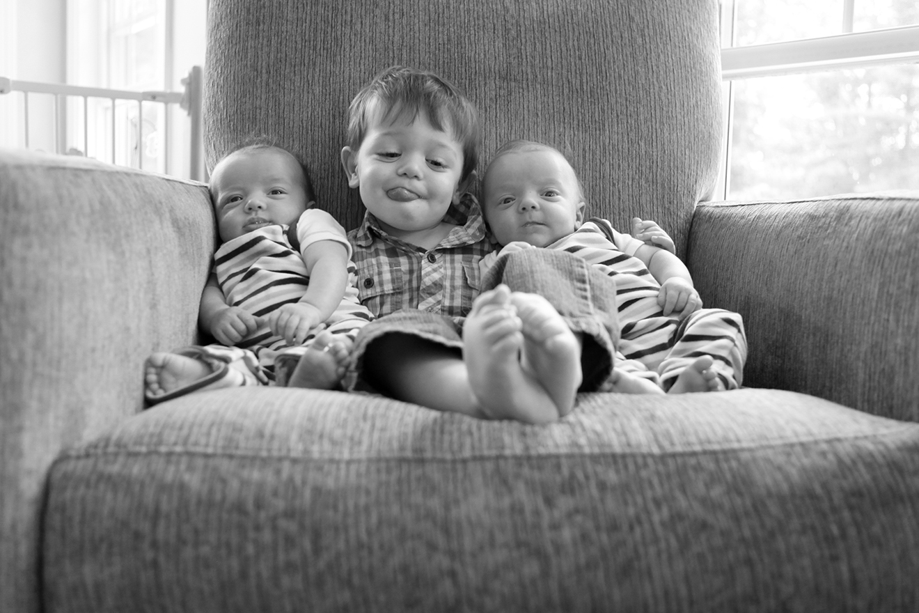 Owen, Declan and Quinn, 2 yrs and 3 month old twins